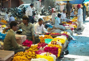 Line of Flower Vendors
