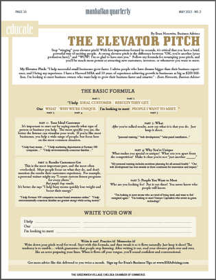 Elevator Pitch Worksheet